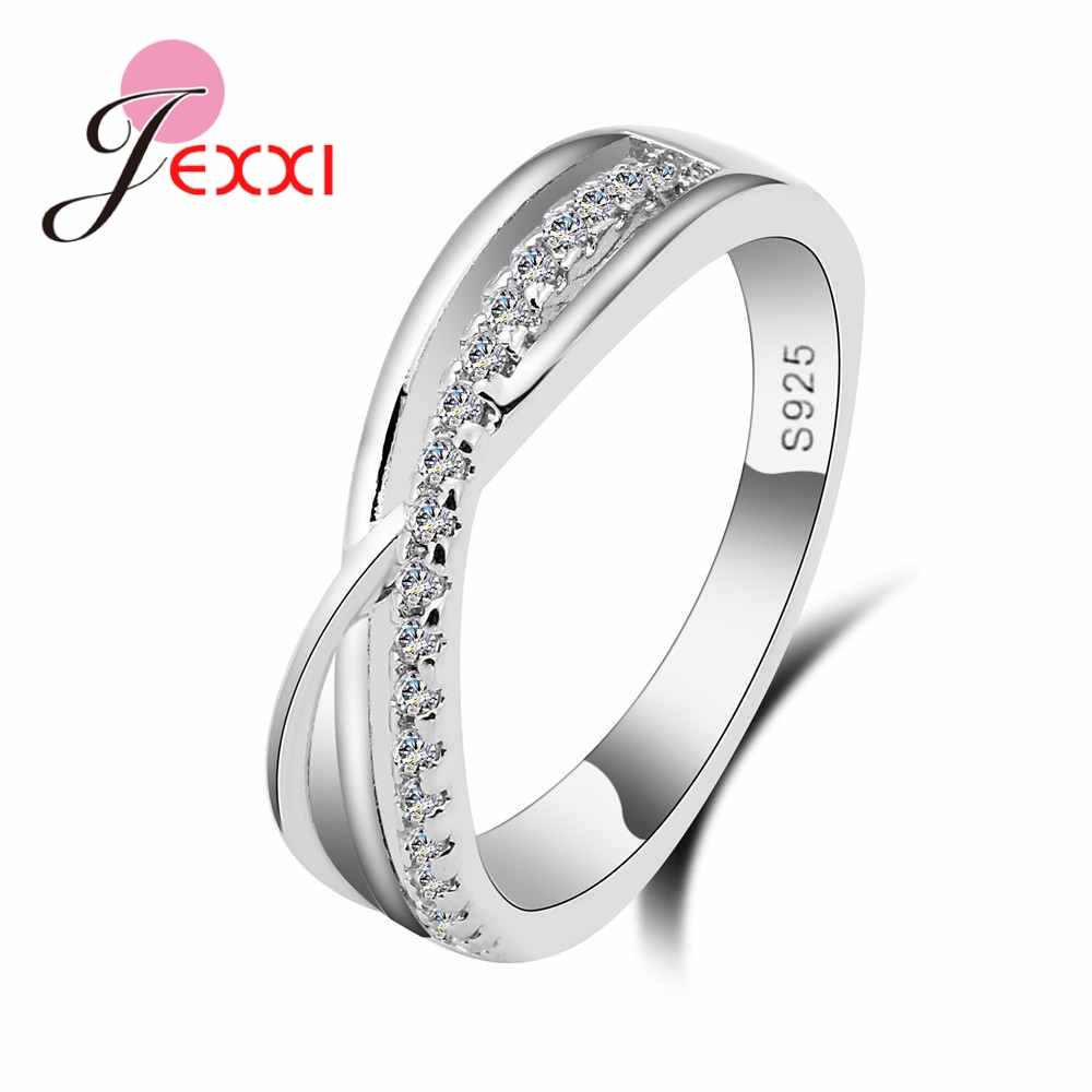 100% Pure 925 Sterling Silver Ring Bridal Luxury Letter X Cross CZ Rhinestone Wedding Rings for Women Wedding Party Gifts