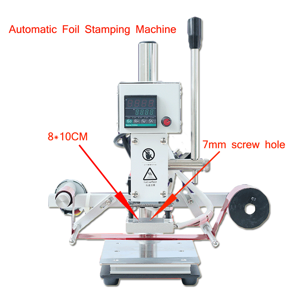 Automatic Leather Stamping Machine Bronzing Printer 8*10CM Marking Press Embossing Machine 110V/ 220V Wood Card Paper DIY Tool printer paper automatic media take up system for roland vp540 sp540 series printer
