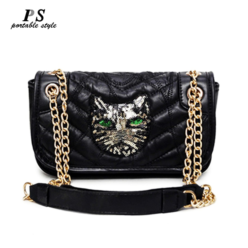 2018 New Genuine Leather women bag famous brand luxury fashion Embossing handbags women bag Sequine designer leather chains bags
