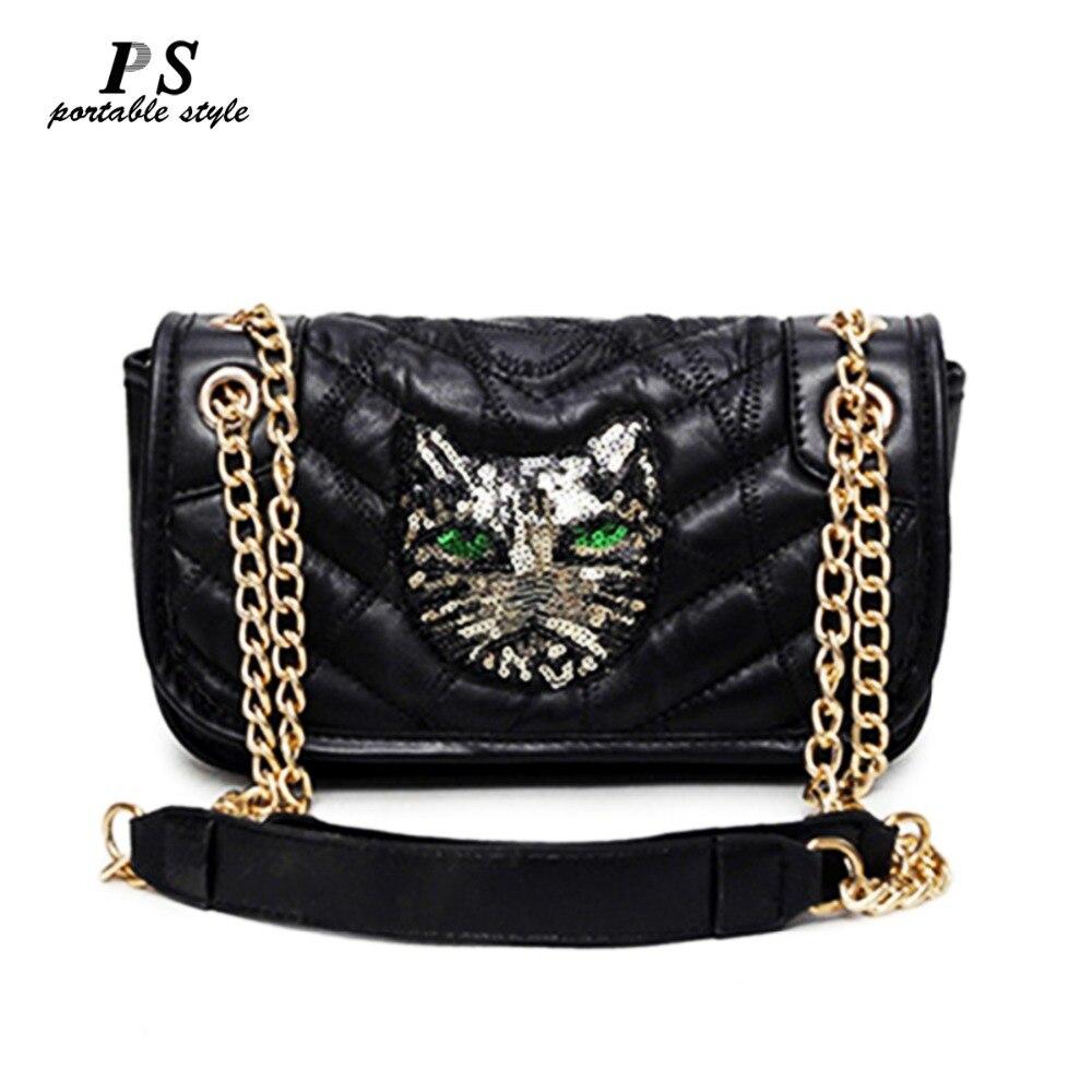 2018 nuevo bolso de mujer de cuero genuino de marca famosa de lujo de moda en relieve Bolsos De Mujer bolso de diseñador de lentejuelas cadenas de cuero bolsos