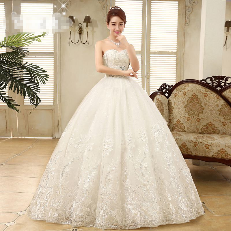 It's Yiiya Cheap White Princess Wedding Frocks Vestidos De Novia Sequins Strapless Lace Wedding Dresses Bride Frocks XXN085