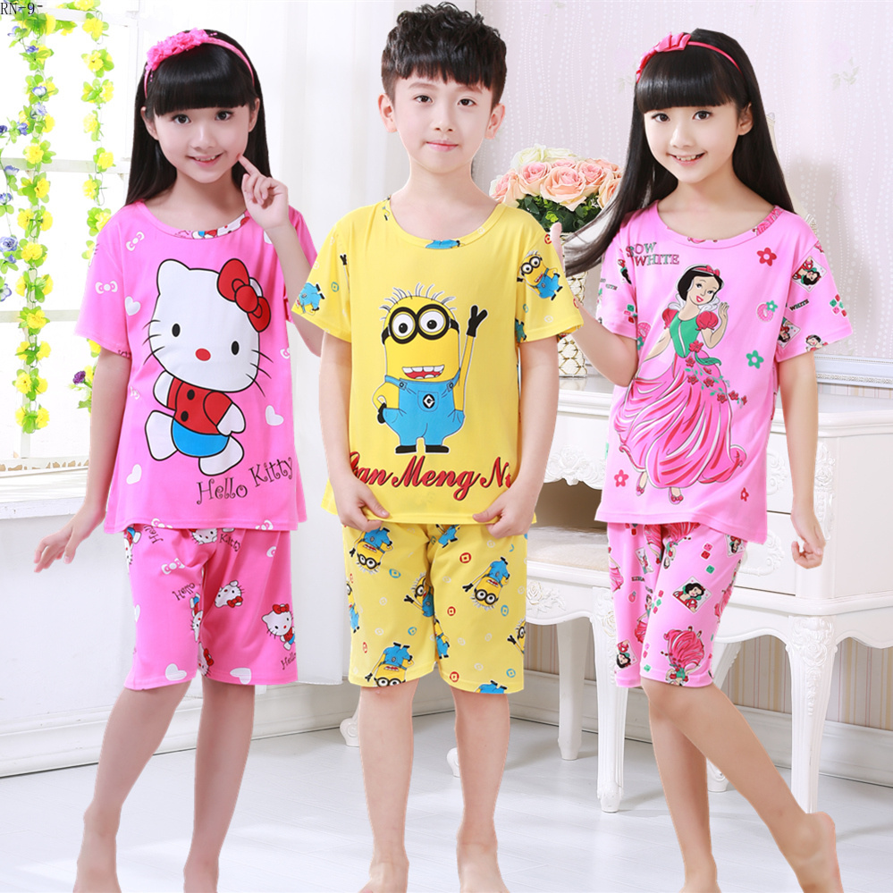 Children's   pajamas     set   2019 summer short sleeve boy pijamas girls cute cartoon home wear children's sleepwear   set   kids   pajamas