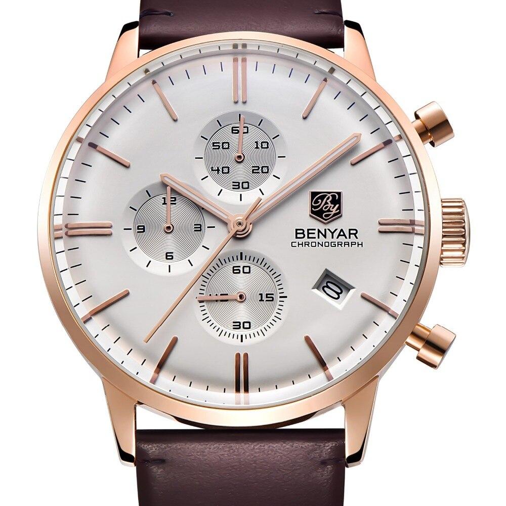купить Relogio Masculino 2017 BENYAR Mens Watches Top Brand Luxury Fashion Waterproof 30M quartz-watch Clock Reloj Hombre недорого