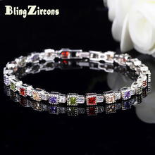 BlingZircons New Green Purple Red Champagne Multicolor Square Cubic Zircon Crystal 925 Plata Tenis pulsera para damas B106