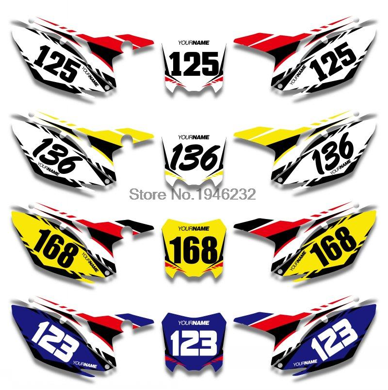Custom number plate backgrounds graphics sticker decals kit for honda crf250r crf250 2014 2015 2016