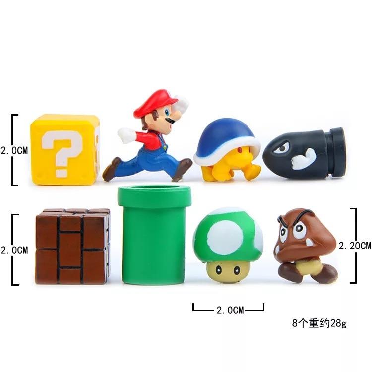 8pcs Set 2 5cm Super Mario Bros Figures Toys Mario Goomba Luigi