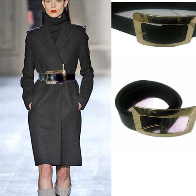 Fashion woman wide leather belt gold metal square buckle high quality waist belt female jeans skirt coats belt dress accessories