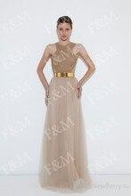 Einfache Tüll A-Line Frauen Formale Abendkleider 2015 Kostenloser Versand Neueste Scoop Sleeveless Wulstige Lange Bodenlangen Abendkleid