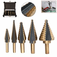 Hoge Kwaliteit 5 stks/set Titanium Cone Stap Boor HSS Grote Kobalt Hole Cutter Gereedschap Met Case Mayitr Hot Selling