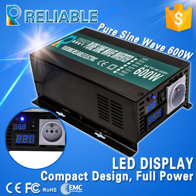 Digital LED Display Off Grid Solar Inverter 600W 12V/24V/48VDC to 110V/220VAC Pure Sine Wave Power Inverter Home Power Supply