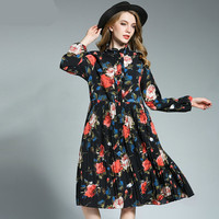 Europe 2018 Autumn Spring New Print Floral Fold Large Size Dress Plus Size Enlarge Pleated Bottom