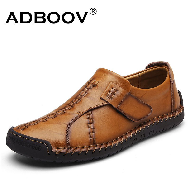 ADBOOV Genuine Leather Shoes Men Italian Style Handmade Casual Shoes Man Slip On Loafers Schuhe Herren branded men s penny loafes casual men s full grain leather emboss crocodile boat shoes slip on breathable moccasin driving shoes