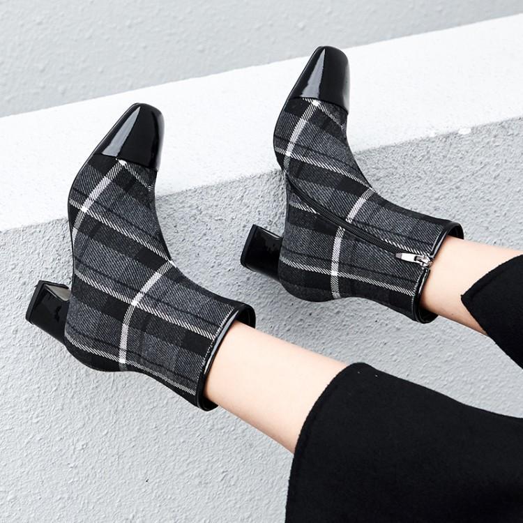 Latérale Verni Noir Bout Tissu Carré Hiver Glissière Mixte Dames Femme Chaussons Chunky Couleur Zapatos Brillant Talon Plaid Cuir gris Noir Chaussures En RqSxWnIUwE