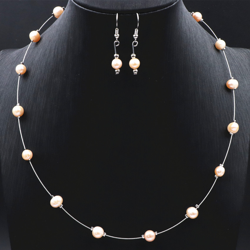 Trendy Elegance Statement Necklace Earrings Natural Freshwater Pearl Beads Choker Necklace For Women Charms Jewelry Set 18inch