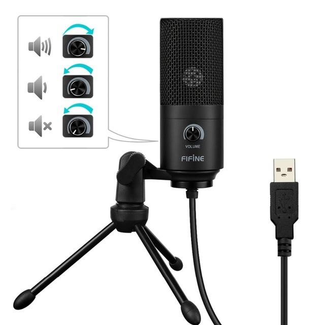Micrófono de grabación de condensador USB de Metal fino para ordenador portátil