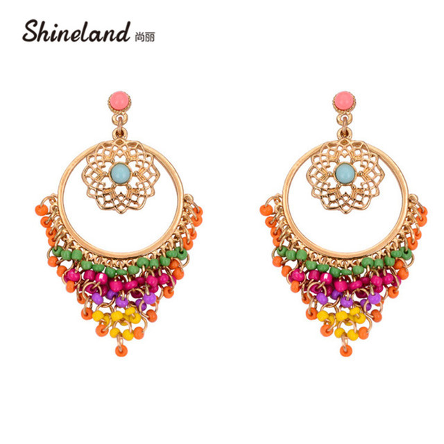 US $1 73 40% OFF|Big Statement Earrings for Women Brincos Grandes New  Arrival Fashionable Gold Color Alloy Colorful Rhinestone Drop Earrings-in  Drop