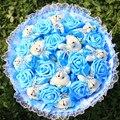 Flores de la boda romántica juguete, hermoso regalo de la historieta del abrigo del diamante del oso de peluche y fake rose ramo de san valentín de regalo