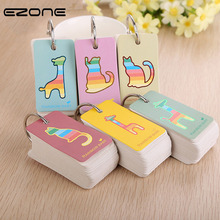 Купить с кэшбэком EZONE Kawaii Animal Notebook Memo Pad Cat Giraffe Loop Button Loose Leaf Note Book Mini Notes Message Stationery Random Color
