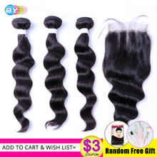 Loose Deep Wave Bundles Brazilian Hair Weave Bundles With Closure Remy Hair Bundles With Closure BY Hair(China)