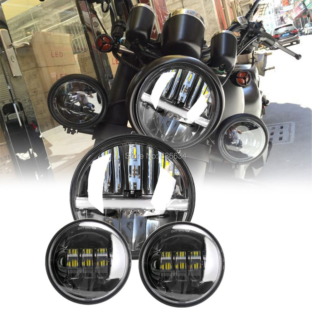 7Inch Round LED Projector Daymaker  Headlight with Black Matching 4.5Inch LED Passing Lamps For Harley Davidson Heritage Softail