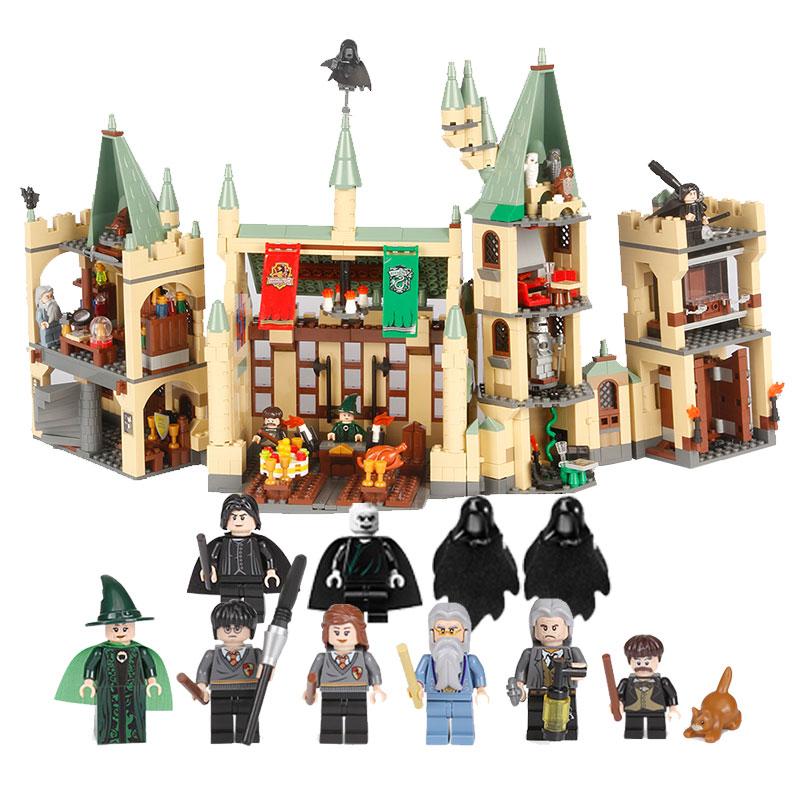 1340pcs Compatible legoingly playmobil Hogwarts Castle School Building Blocks Kit Set Building Bricks LoL Toys For Children 4842