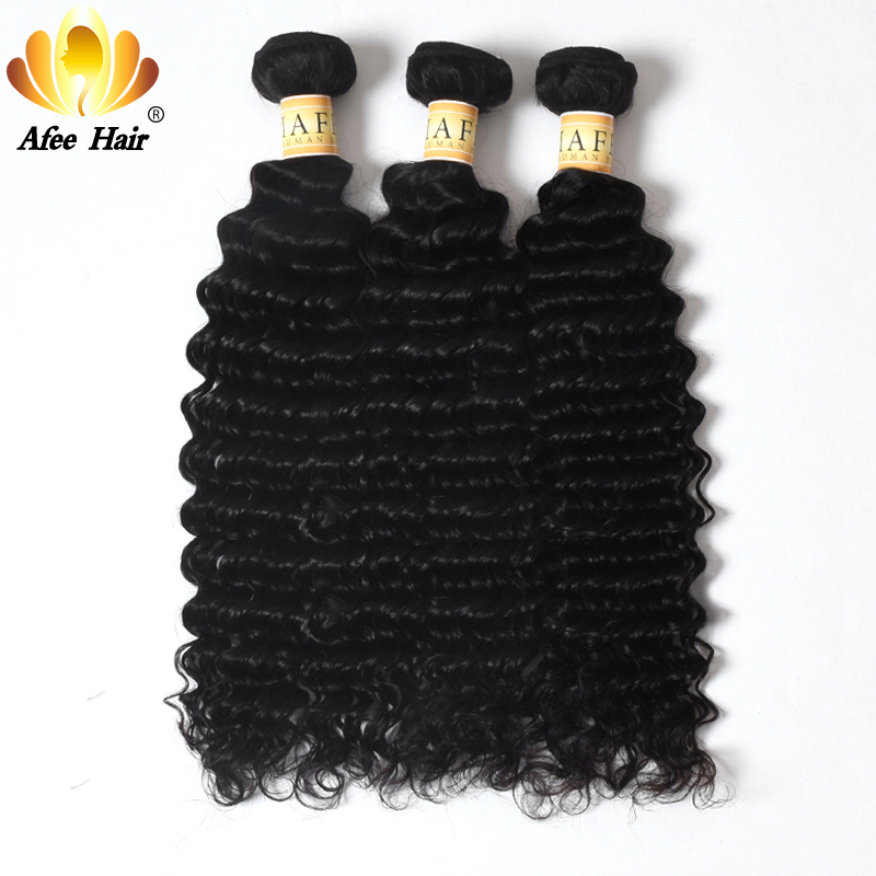 Aliafee brasiliansk Deep Curly Hair 1PC Remy Human Hair Extension - Menneskehår (sort)