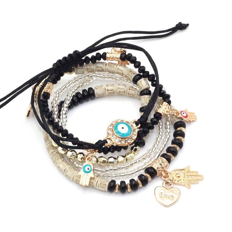 FERVENT 6pcsset Heart Women Beads Eye Charm Bracelet For