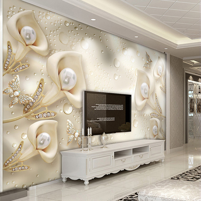 custom 3d mural wallpaper european style calla lily butterfly watercustom 3d mural wallpaper european style calla lily butterfly water drop silk wallpaper hotel living room tv backdrop home decor