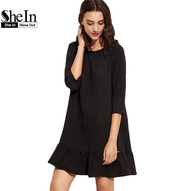 SheIn Woman Autumn Short Dresses Black Three Quarter Length Sleeve Round Neck Drop Waist  Ruffle Hem A Line Dress