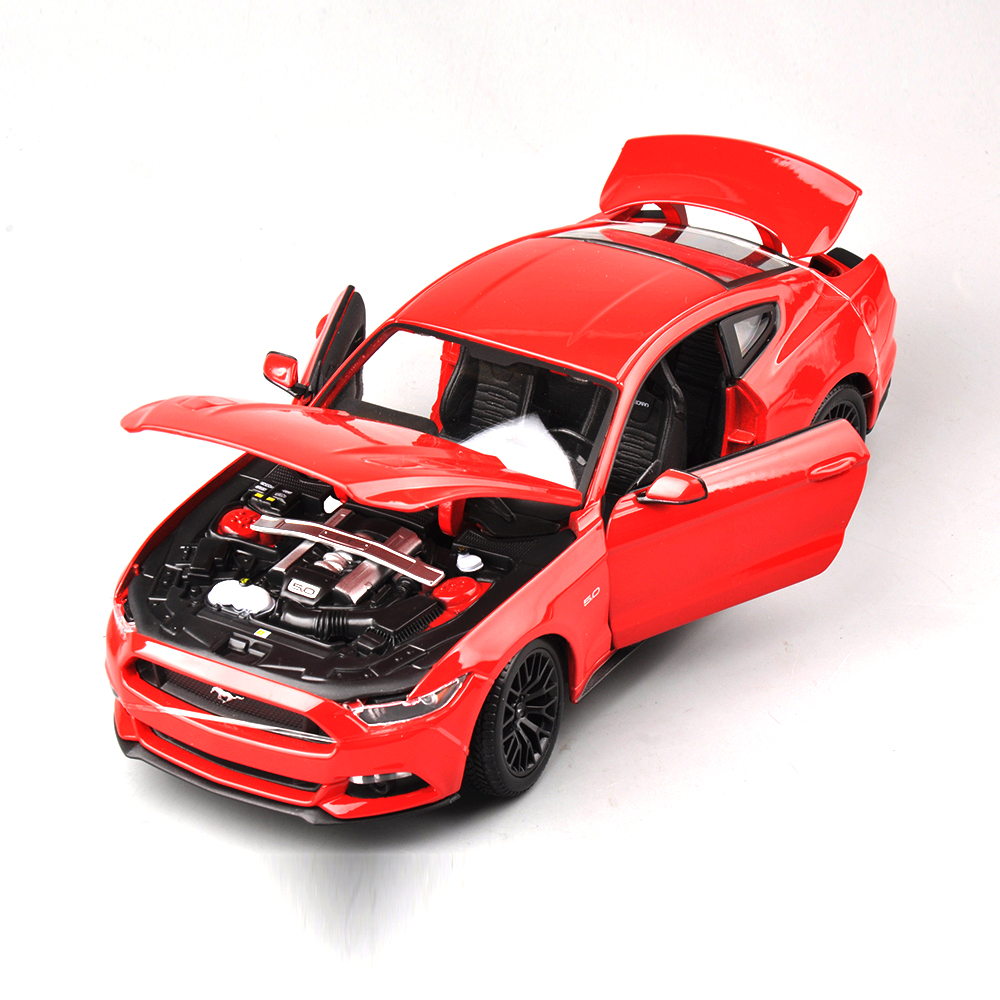 Collection 1/18 Scale Ford Mustang 2015 Cars Model Alloy Diecast Car Model Red Black With Openable Doors Toys Gifts 2013 1 18 ford mondeo fusion diecast model car alloy model car hobby stores cars for sale aluminum die casting products