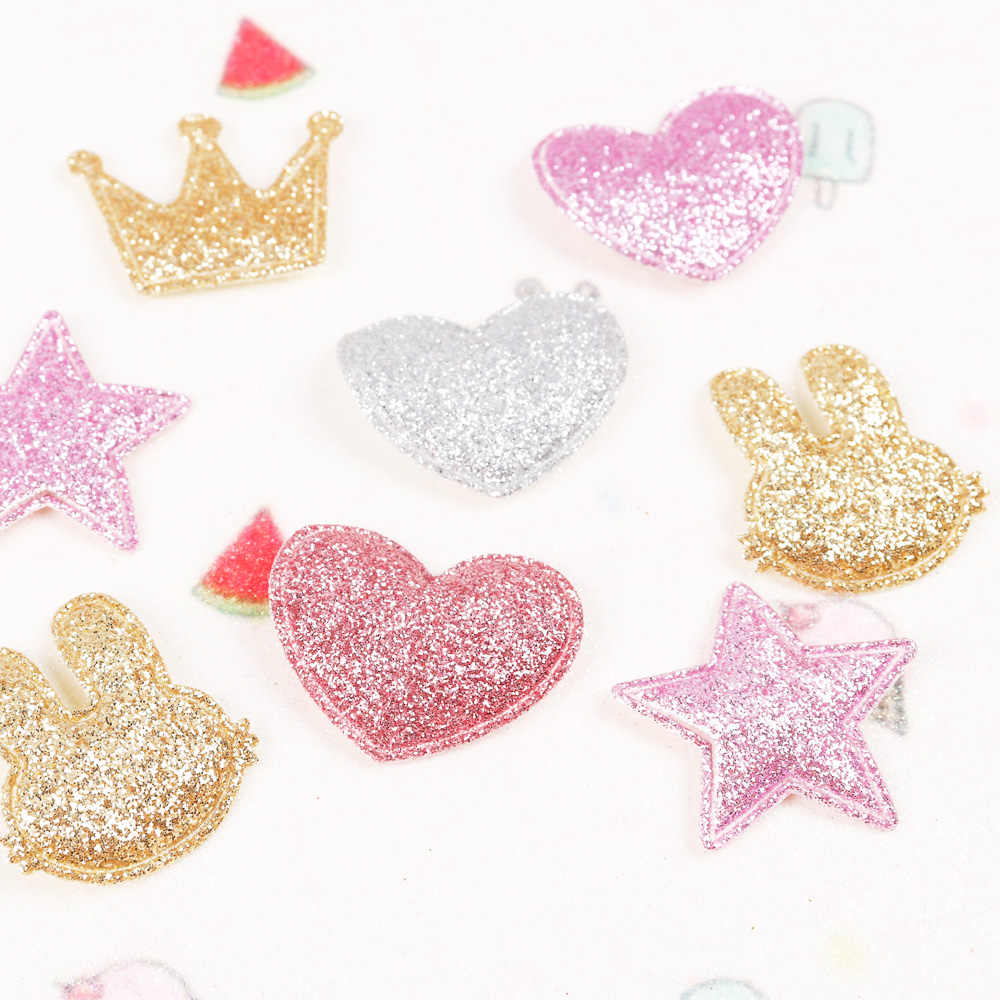 dd16036c97 100pcs Mixed Color Appliques Heart Star Crown Rabbit Glitter Patches Single  Side DIY Accessories Patchwork Sticker Suppliers