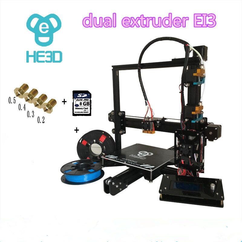 2017 Newest dual nozzle Aluminium Extrusion 3D printer kit prusa EI3 3D Printer with 2rolls filament