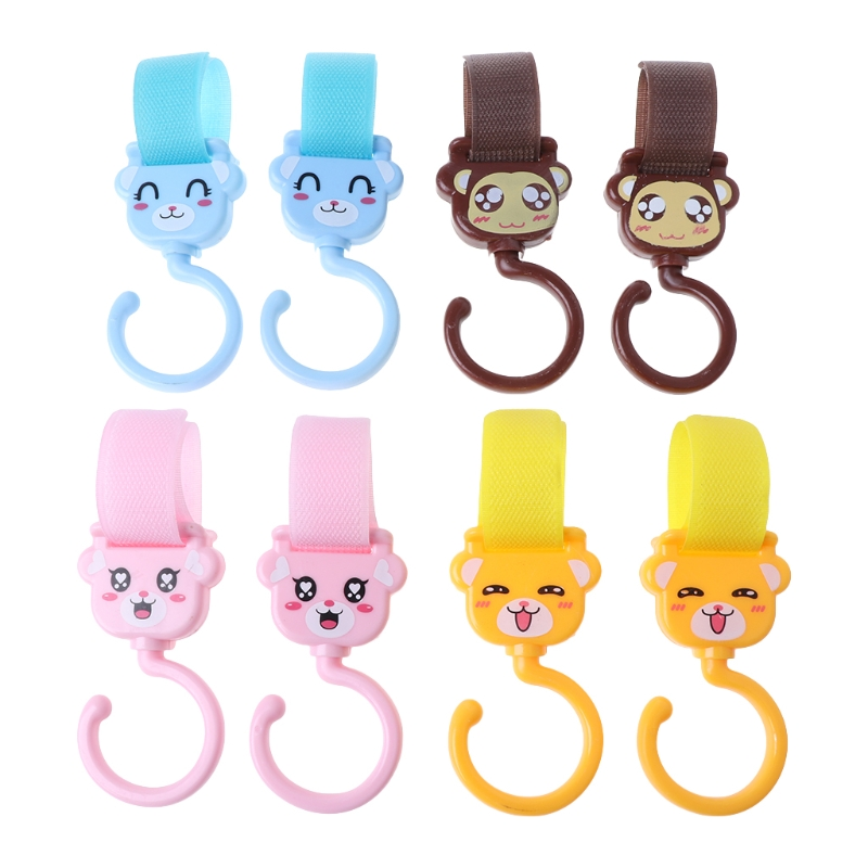 Hot Sale 2 Pcs Baby Stroller Hook Cute Cartoon Spin Accessories Multi Functional