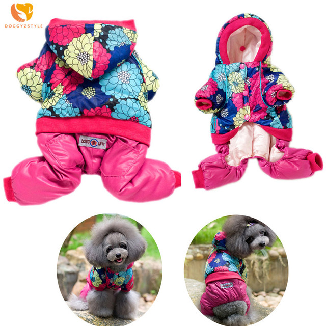 DOGGYZSTYLE Polyester Dog Clothes Jumpsuit Warm Winter Hoodies Pet Coat Puppy Cat Clothes Costumes Pets Jacket For Small Dogs