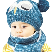 New Arrival Children 4 Colors Cute Owl Pom Pom Crochet Wool Acrylic Blend Winter Hat With