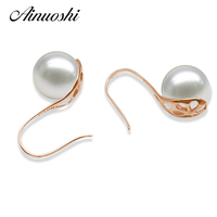 AINUOSHI Fashion Natural Freshwater Pearl 7.5 8mm Round Pearl Earrings 18K Rose Gold Women Ear Hook Earrings Wedding Jewelry