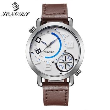 7a6fb205de6e SENORS cara grande relojes Rattrapante Dial hombre reloj negro blanco  hombres reloj impermeable de cuero relojes