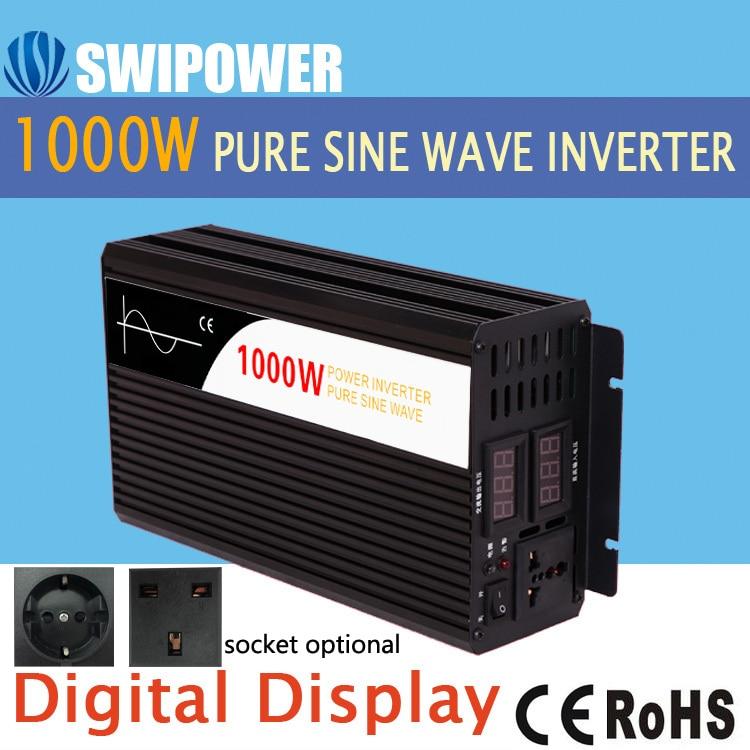 1000 W pur onduleur à onde sinusoïdale DC 12 V 24 V 48 V à AC 110 V 220 V affichage numérique