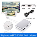 Свет нин к hdmi vga аудио адаптер алюминиевого сплава для ТВ Проектор адаптер hdmi vga конвертер для 5S/6/6 s/7 я pad