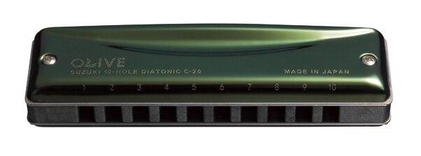 SUZUKI C-20 Olive 10-Hole Diatonic Blues harmonica Major Key of C A D G E F plugB suzuki c 20 olive 10 hole diatonic blues harmonica major key of c a d g e f plugb
