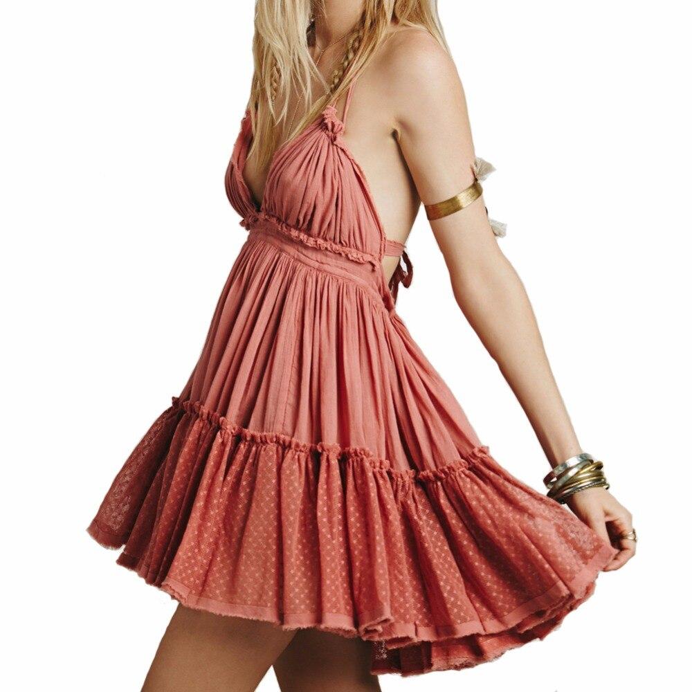 BellFlower 2018 di Estate Della Boemia Delle Donne Del Mini Vestito Backless Vestito Dalla Spiaggia di Vacanza Boho Senza Spalline Sexy Abito di Sfera Hippie Chic Dress