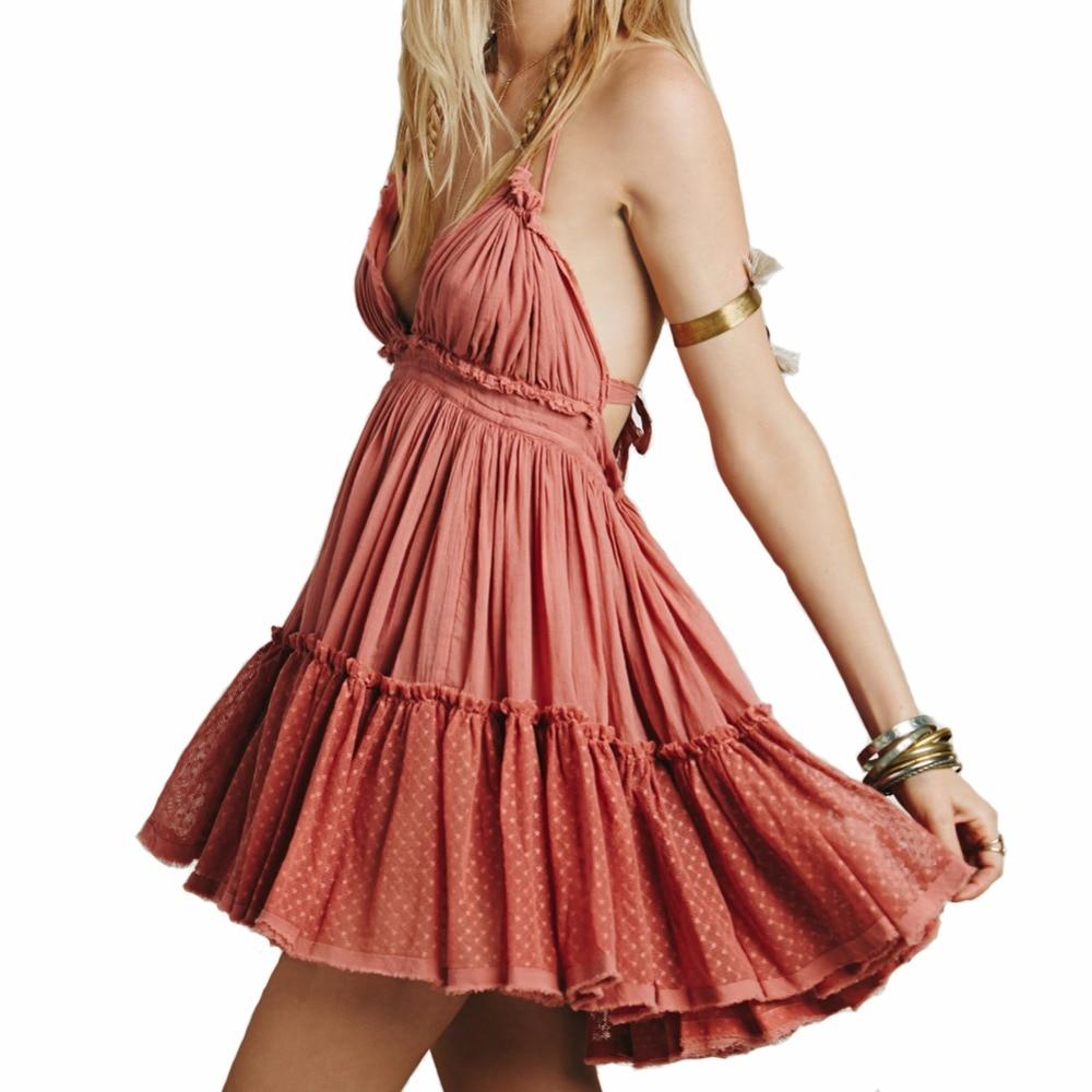 BellFlower 2018 verano bohemio mujeres Mini vestido sin mangas del vestido de la playa Boho Strapless Sexy bola del vestido