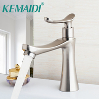 KEMAIDI Bathroom Sink Deck Mounted Single Cold Faucet Bathroom Basin Sink Faucets Nickel Brushed Stream Spout Tap