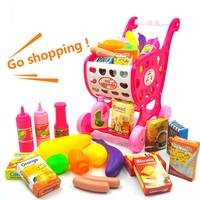 Kids Supermarket Shopping Cart With Food Vegetables Cooking Set Pretend Play Kitchen Toys For Girl Children