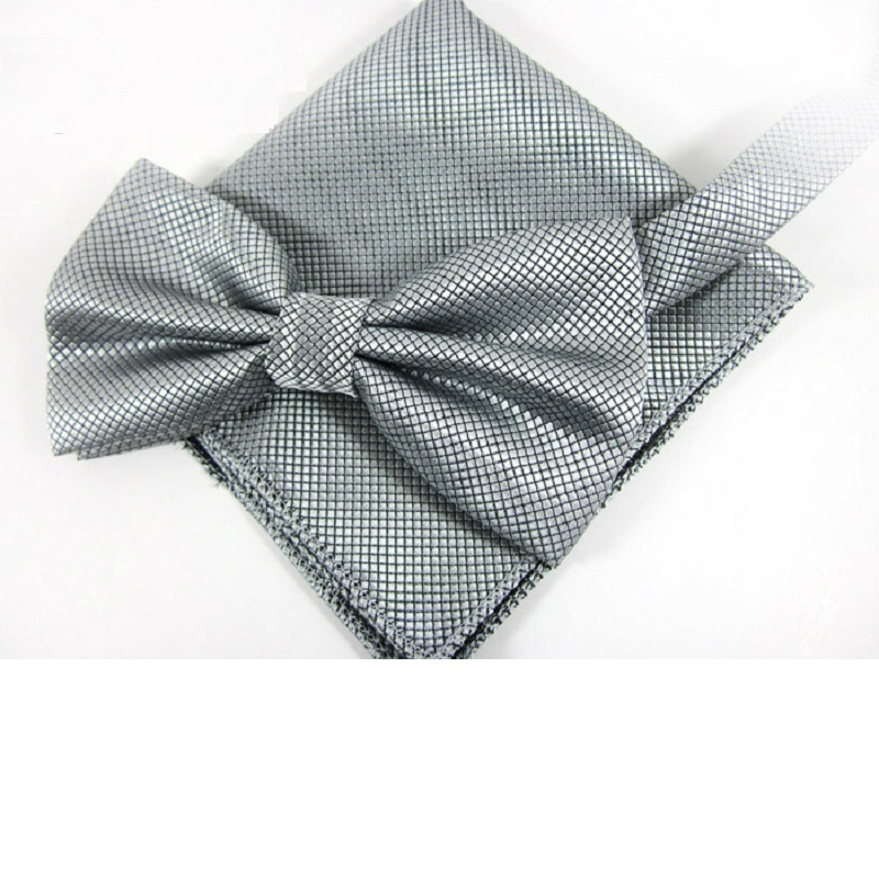 HOOYI Men Ties Handkerchief Solid Color Tie Set 2019 New Gray Bowtie Pocket Square