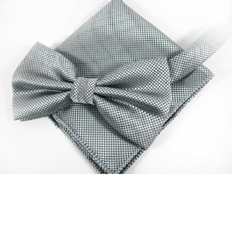 HOOYI Men Ties Handkerchief Solid Color Tie Set 2019 New Gray Bowtie Pocket Square