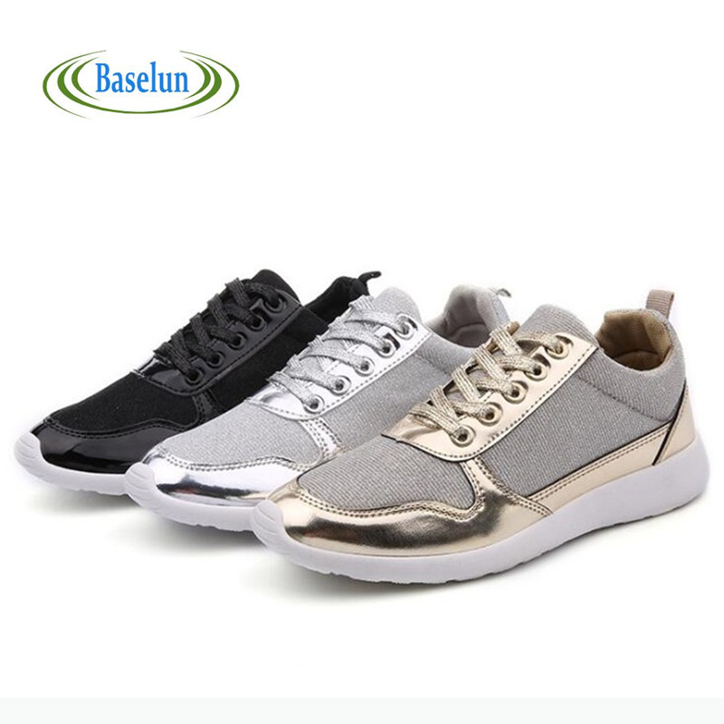 2016 New Fashion Brand Women Casual Shoes Womens Girls Flats Gold Black White Shoes Plus Size 36-41 new 2017 spring summer women shoes pointed toe high quality brand fashion womens flats ladies plus size 41 sweet flock t179