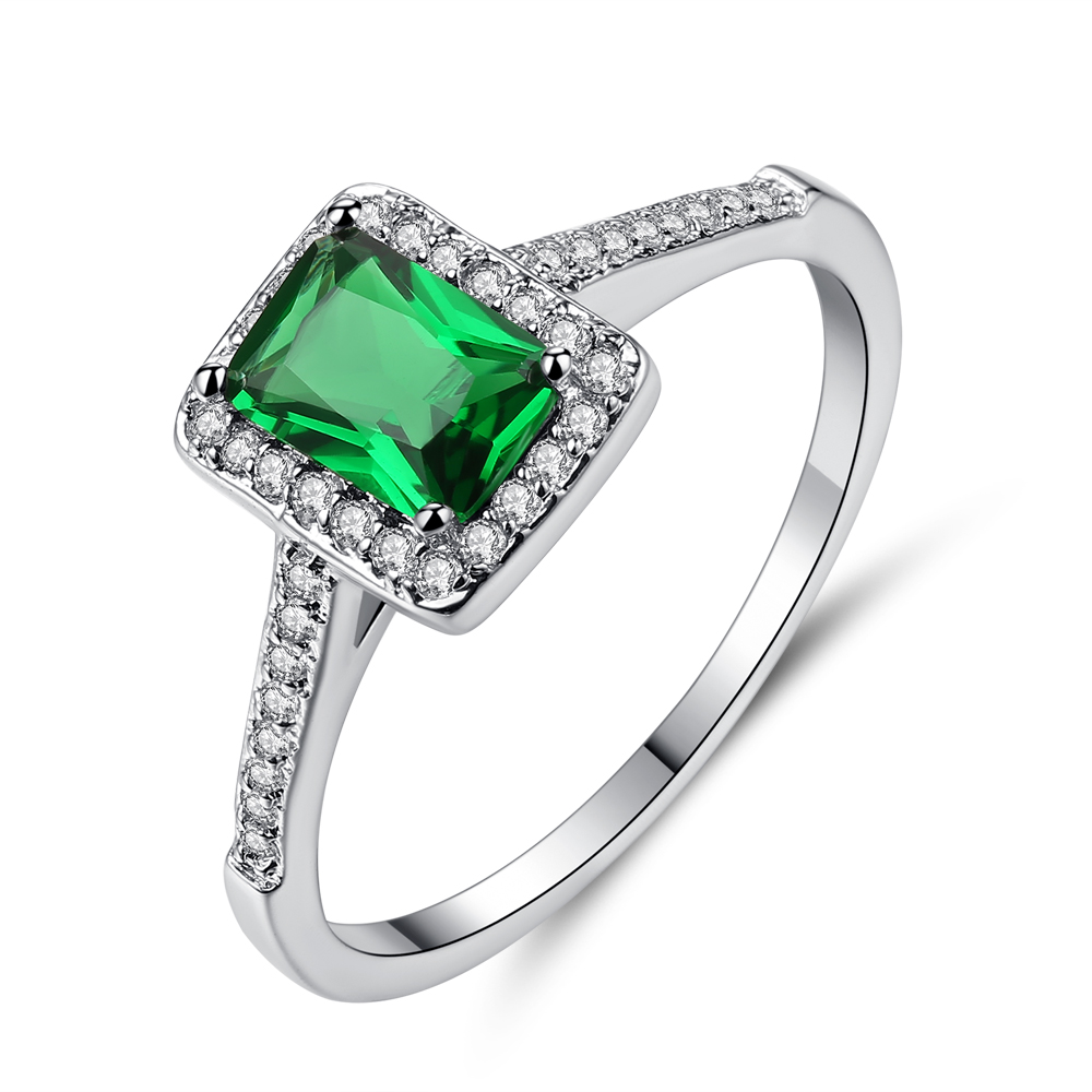 Cinily Zircon Jewelry Ring-Size Wedding-Gift Green-Stone Silver-Plated Women for 6-9
