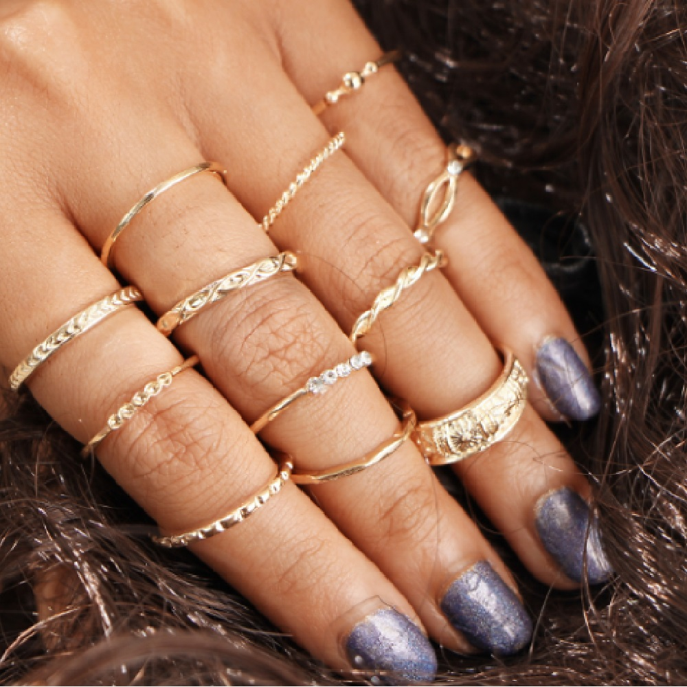 12pcs boho knuckle ring set hollow finger ring set with eagle retro vintage jewelry for women young lady fashion jewelry