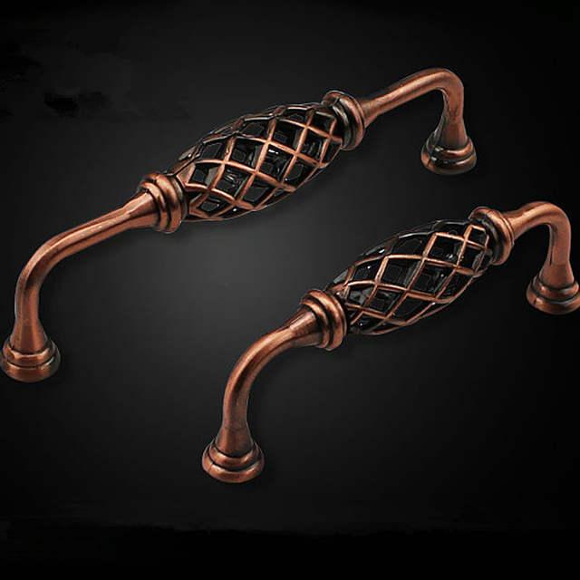 Red Copper Bronze Iron Birdcage Cabinet Knob Decorative Handles Furniture  Dresser Pulls Door Knobs Pack Of